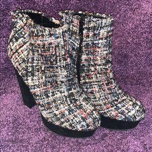 Tweed Velvet ankle booties